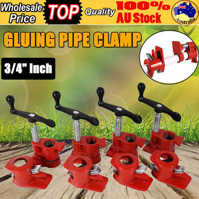 """4Pcs 3/4 """" GLUING PIPE Tube CLAMP WOODWORKING HEAVY DUTY Cast VICE HAND TOOL KIT"""