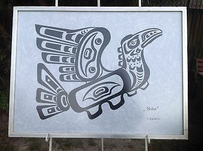 Fantastic Retro  Black  Ink  Silkscreen On  White Rice Paper Hoho Bird