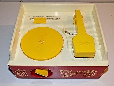 Vintage 1971 Fisher Price Music Box Record Player with Records*** Works***