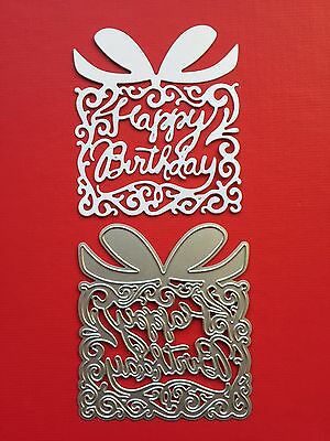 NEW• HAPPY BIRTHDAY WORDS PRESENT DIE For Sizzix Or Cuttlebug