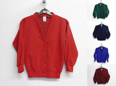 Girls School Cardigan Sweatshirt Cardigan School Uniform 1-14 Years Royal/Red