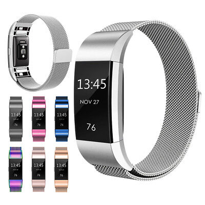 Magnetic Milanese Loop Stainless Steel Wrist Watch Band Strap for Fitbit Charge2