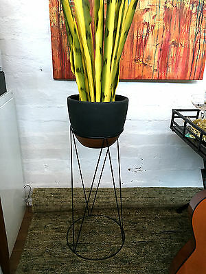 Plant Stand +Pot Black Copper On Trend Mid Century Home Decor Indoor Garden