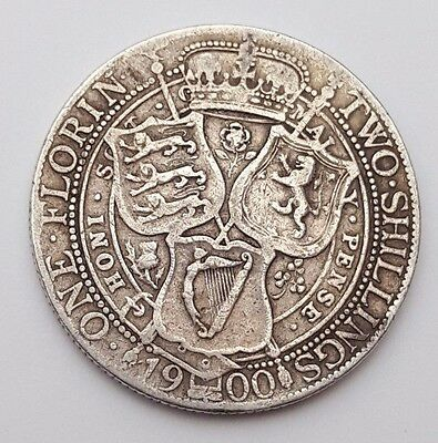 1900 - One Florin / Two Shillings - Silver Coin - Queen Victoria - Great Britain