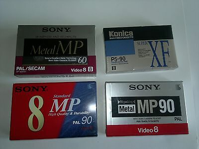 4 Cassettes Video METAL MP ET MP8, Vierges SONY ET KONICA - new