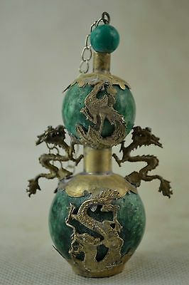 Delicate Chinese Silver Dragon Phoenix Inlaid Jade Handwork Snuff Bottle