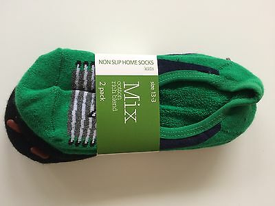 Non-Slip Home Socks Kids - 2 Pack - Size 13-3 NEW