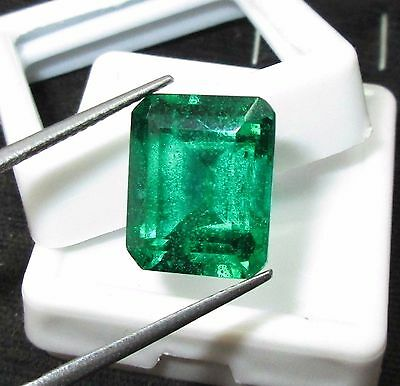 Certified 12.35 Ct Faboulous Natural Zambia Emerald Gemstones