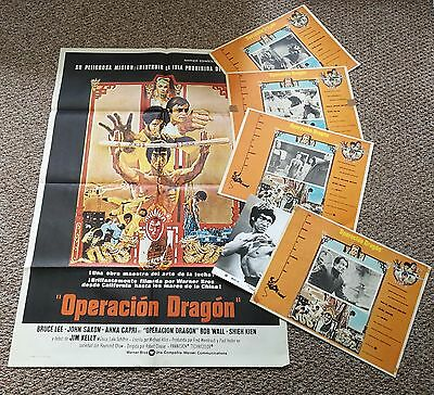RARE! Bruce Lee Original Spanish Enter the Dragon Poster (1973) WITH 4 LOBBY'S