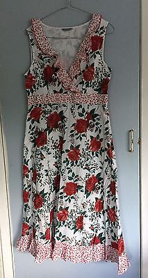 Ladies M&S Floral Sleeveless Below Knee Summer Dress Size 12 White Red Green