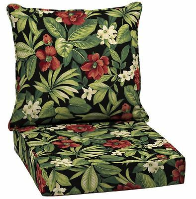 Deep Seat Chair Cushion Black Floral Glenlee Tropical Outdoor Patio Polyester