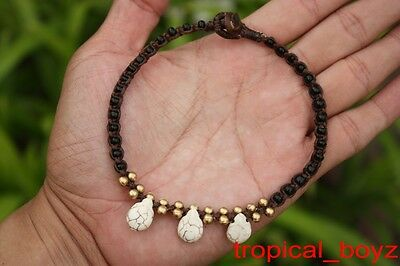 10 Handmade White Water Drop Polymer Waxed Nylon Anklets Wholesale