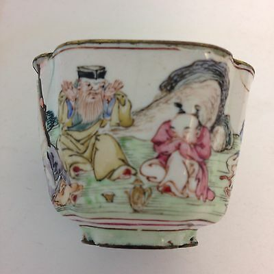 Antique Japanese Small Enamel Bowl Painted With Figures 3.5cm High Damaged