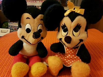 Vintage Disney Mickey Mouse  + Minnie Mouse Soft Toys 1950's 60's California