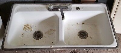 Vintage Double Cast Iron Enamel Kitchen Sink Malone NY Estate