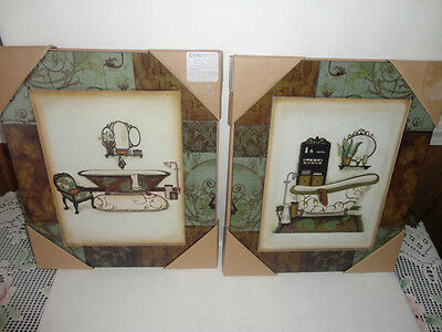 4 Your Home Interiors  2pc Set  Victorain Bathtubs '' Pictures on Wood  NEW