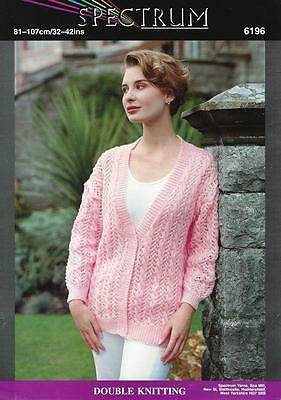 """SP6196 LADIES DK CABLE & LACE CARDIGAN / JACKET KNITTING PATTERN 32-42""""/81-107cm"""