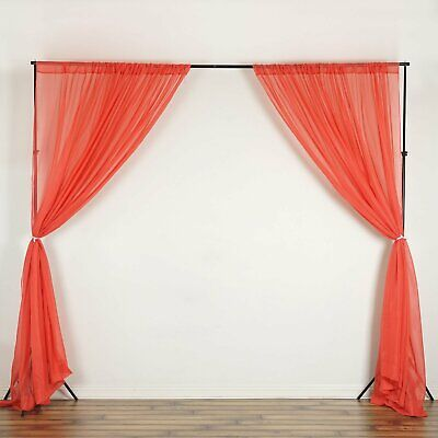 Coral 10 x 10 ft Voile BACKDROP CURTAINS Drapes Panels Home Party Decorations