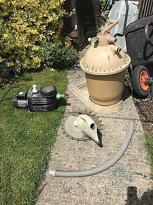 Swimming pool pump, sand filter and hoover