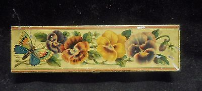 """Old Tin Box Diamond Match Company """"butterfly Match"""" Long Good Condition Uncommon"""