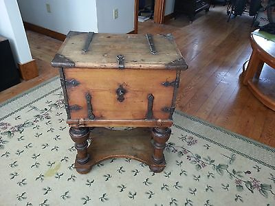 Antique 4 Drawers Captain's Chest with ironwork