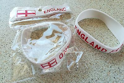 TWO England Football Rugby Cricket National Team Supporters Wrist Bands