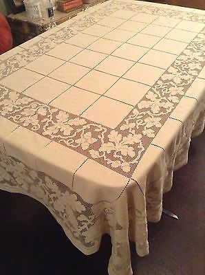 Vintage Tablecloth Beige 210cm X 155cm Excellent Condition Geometric Squares &