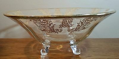 Vintage Clear Glass Footed Serving Bowl with Gold Etched Design