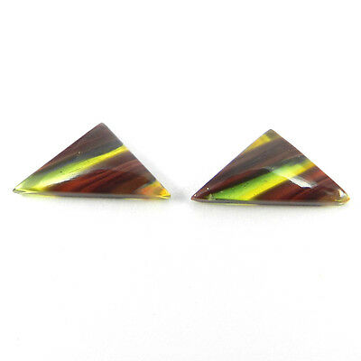 Wow !! 1 Pair Mexican Glass Gemstone 9x17mm Fancy Cab 4.6 Cts Stone ER9005