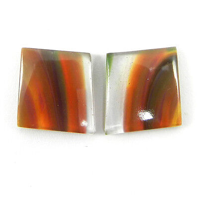 New Style 1 Pair Mexican Glass Gemstone 14x15mm Fancy Cab 12.8 Cts Stone ER8999
