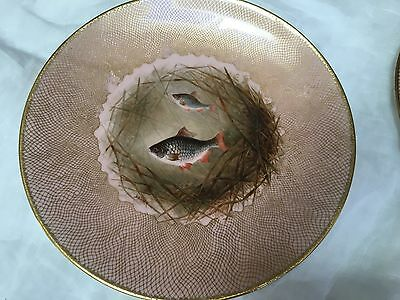 Set 10 Cauldon  England Cabinet plates 10 different hp fish artist signed
