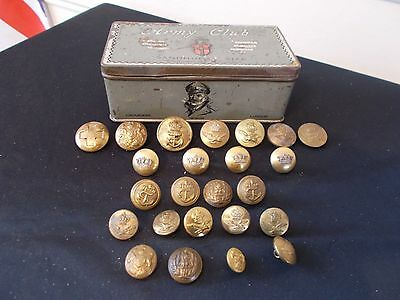 Military buttons. Vintage army, navy and air force+army club cigarette tin....