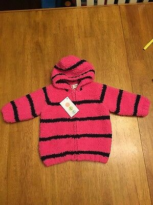 Baby Girl Boutique ANGEL DEAR Pink/navy Hooded Jacket 0-6Mth-NWT