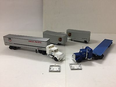 N Scale Herpa, Concor/promotex Semi Tractor Trailers x 2 & UPS Pups x 2