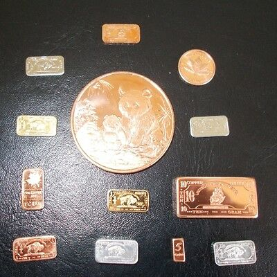 Nice starter Collection mix assorted  bullion bars coins  Bars 13 total