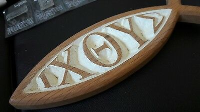 Wooden Christian religious fish shaped gift of oak wall plaque