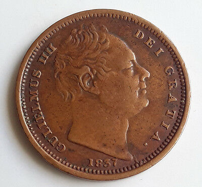 British Half Farthing Coin 1837 King Willam IV - Excellent Condition - Rare
