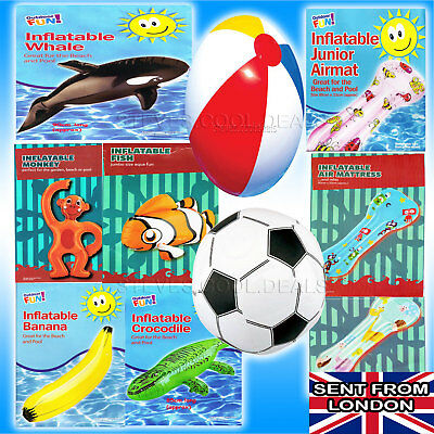 Kids Inflatable Lilo Air Mat Air Bed Swimming Pool Crazy Beach Holiday Games NEW