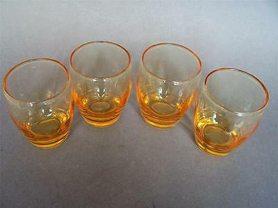 4 Whitefriars Glass Golden Amber Vertical Ribbed Water Glasses