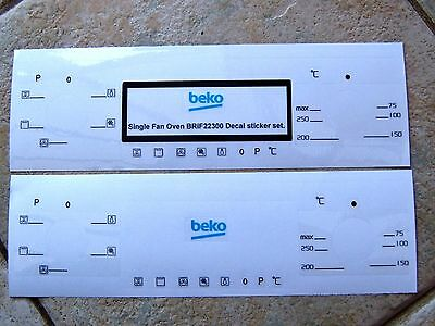 Beko BRIF22300 oven facia. decal stickers, may suit other models.