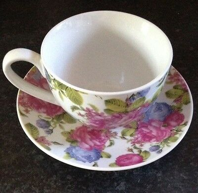 Pink Floral Purple Flowers Shabby Chic Tea Cup And Saucer Teacup China
