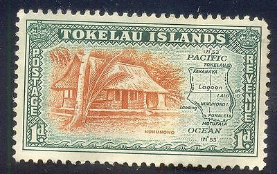 Tokealu Islands 1D Unused Stamp A21309 House Nukunono Trees Map