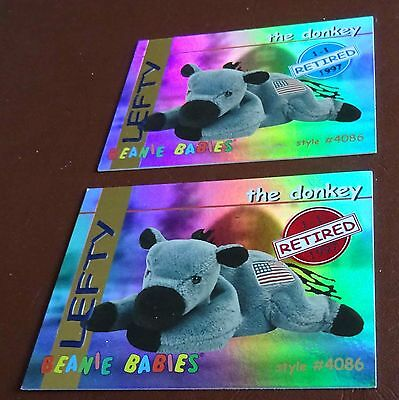 TY Beanie Baby Card - Series 1 - Lefty the Donkey - Red & Blue - Retired