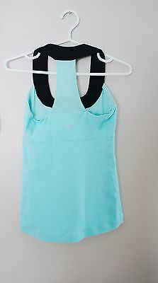 Women's Lululemon Size 4 Tank Top Run Fitness  Raceback Yoga Mint Blue