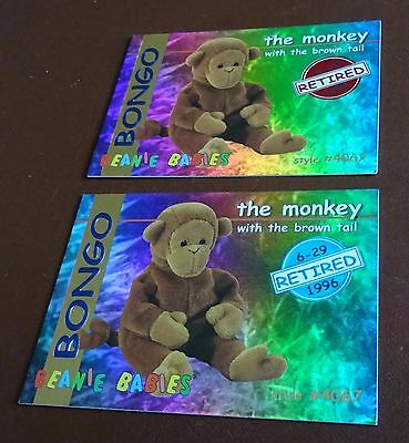 TY Beanie Baby Card - Series 1 - Bongo the Monkey - Red & Blue - Retired