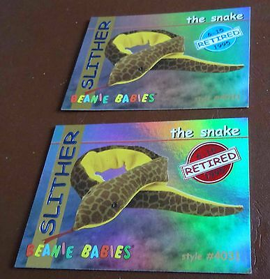 TY Beanie Baby Card - Series 1 - Slither the Snake - Red & Blue - Retired