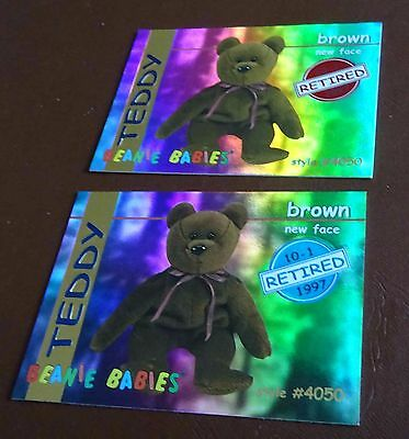 TY Beanie Baby Card - Series 1 - Teddy brown new face - Red & Blue - Retired