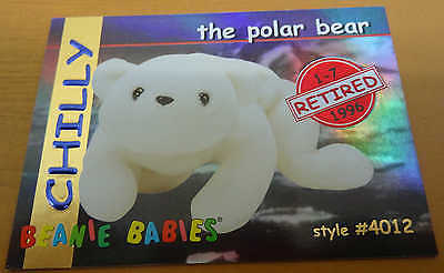 TY Beanie Baby Card - Series 1 - Chilly the Polar Bear - Retired - Red - #4012