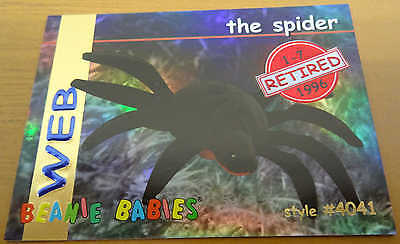 TY Beanie Baby Card - Series 1 - Web the Spider - Retired - Red - #4041