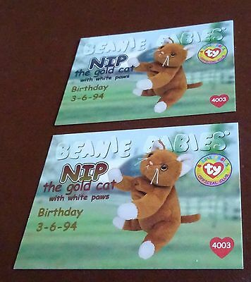 TY Beanie Baby Card - Series 1 - Nip the Gold Cat - Red & Blue - Birthday